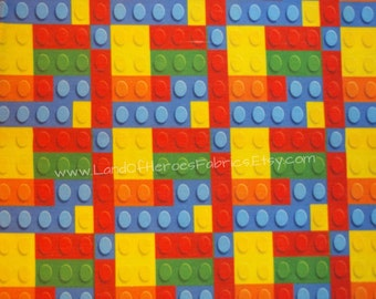 "If You Love Legos You'll Love the Building Blocks on this Cotton-Poly Fabric, 56"" Width - By the Half-Yard or Yard"
