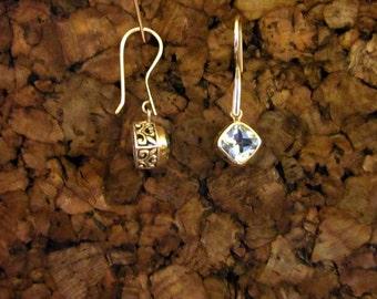 Blue Topaz & Antiqued Sterling Silver  Earrings - #28