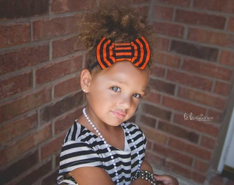Black and Orange Bow Clip or Elastic headband