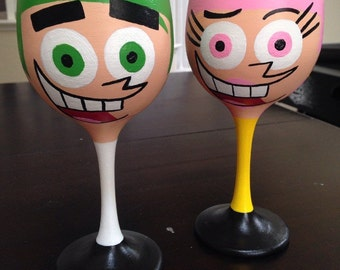 Cosmo and Wanda inspired hand painted wine glasses