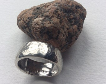 Hammered Half Dollar coin ring - Silver Half Dollar dated 1964 - Kennedy Half Dollar Silver Coin Ring size 9