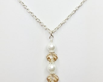 Topaz Crystal Drop Pendant Champagne Crystal White Pearl Necklace Topaz Bridesmaid Gift Mother of the Bride Gift Topaz Wedding Party Gift