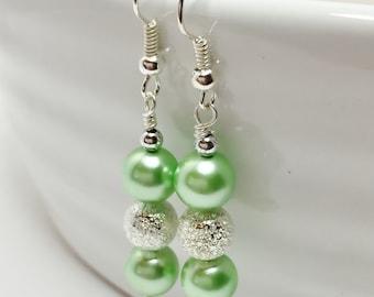 Mint Green Drop Earrings Mint Wedding Earrings Bridal Party Gift Mint Bridesmaid Green Dangle Earrings Beaded Wedding Jewelry Shell Pearl