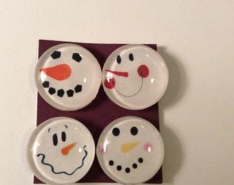 Set of 4 snowman magnets