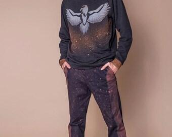 Man Black Hoodie, Hooded Top, Fashion Top, Print Sweatshirt, Festival Clothing, Man Black Sweatshirt, Futuristic Clothing, Casual Sweatshirt