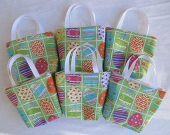 Set of 6 Easter Fabric Gift Bags/ Party Favor Bags/ Easter Goody Bags- Easter Eggs