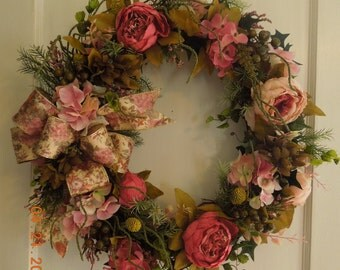 """23"""" Peony Hydrangea Garden Floral Wreath with Tapestry Bow"""