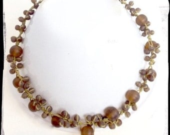 Handmade Bubble Necklace- Brown Resin Beads & Waxed Thread