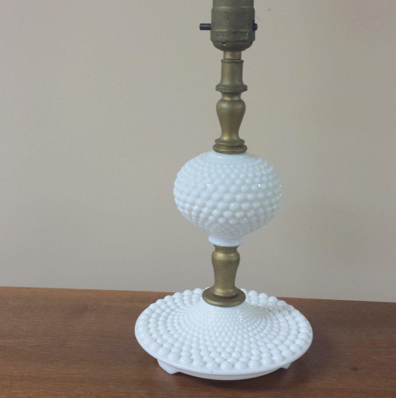 vintage hobnail white milk glass lamp