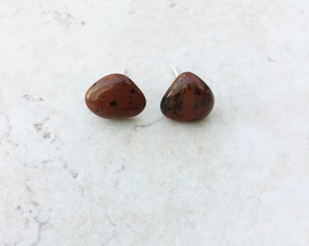 Mahogany Obsidian Earrings >> Small Stud Earrings >> Natural Stone Jewelry >> Southwestern Earrings >> Red Obsidian >> Gifts For Her >> Boho