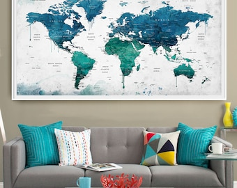 Extra large watercolor push pin map poster print, World map wall art, Artwork, Travel Map, Large map, Home Decor, Blue Watercolor Art (L47)