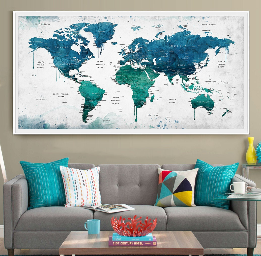 Extra Large Watercolor Push Pin Map Poster Print World Map - Large us road map poster