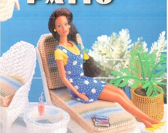 Plastic canvas pattern book, Fashion Doll Patio, fits Barbie, design by Mickie Akins, Annie's Attic 879933.