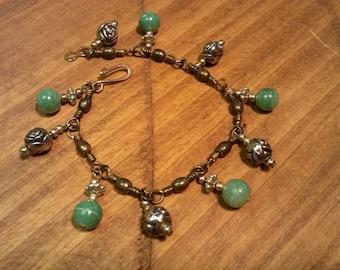 Silver Roses and Jadite Bead Bracelet