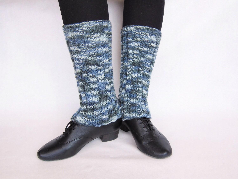 Knitted Leggings Gray Leg Warmers Yarn Knit By ...