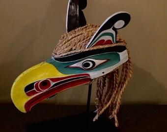 Vintage Kwakiutl Northwest Coast  Native American Carved & Painted Articulated Eagle Mask 1940's -1940's Charlie George