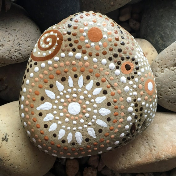 Painted Rock Design Ideas: Rock Art Painted River Rock Mandala Inspired Design Natural