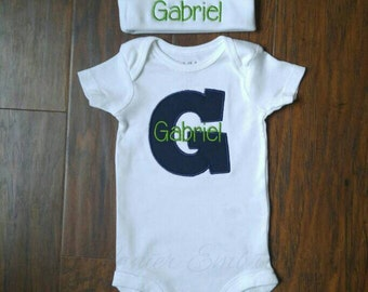 Embroidered onesie and hat set for baby boy-Newborn take home outfit-Personalized baby hat-Personalized baby onesie-Baby shower gift