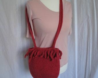 coral pink felt bag, wool shoulder-bag, knitted felt purse, alpaca-mix handbag, fun and funky purse, fringed felt bag, felted wool purse