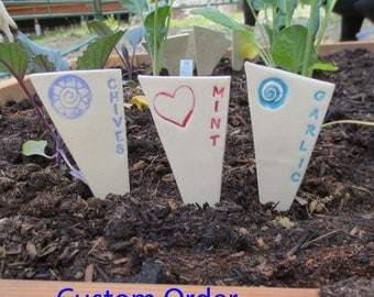 Plant Markers, Garden Stakes, Herb Marker, Choose any Number, Custom Order, Ceramics and Pottery. Garden Marker, Gardener Gift, Mother's Day