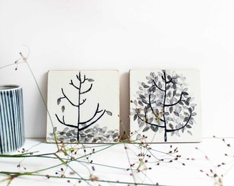 "Cup coasters ""TREES"", set of 2"