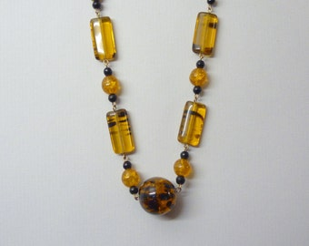 Faux Amber Lucite Necklace