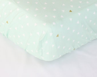 Fitted Crib Sheet & Changing Pad Cover: Tribal Triangles (Boy Baby Bedding) | Bold Bedding
