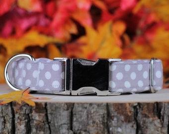 Grey and White Polka Dot adjustable Dog Collar with Metal Buckle