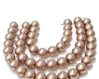 Pearl beads bulk, 6mm pearls, light mocha pearls, light mocha beads, 6mm glass pearl beads, jewelry pearls, jewelry supplies, 6mm beads