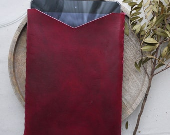 Leather iPad case with interlocking sides, oxblood iPad case, colour variations available.  Handmade in England.