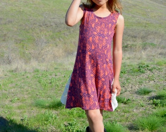 Aztec Coral and Navy A-line Dress Girls