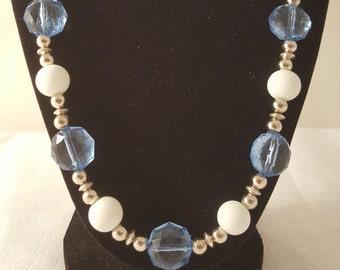Blue Necklace - White Necklace- Silver Necklace - Women's Necklace - Winter Necklace - Blue & White Necklace - Blue and White Necklace