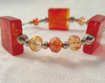 Red Bracelet - Orange Bracelet - Red Orange Bracelet - Cube Bracelet - Fire Glass Bracelet - Women's Bracelet - Women's Orange Bracelet