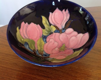 "Walter Moorcroft signed magnolia bowl - 7.25"" - footed bowl - trinket dish -ornament"
