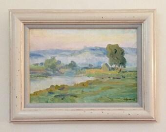 Green Meadow Landscape Original Oil Painting Framed Signed
