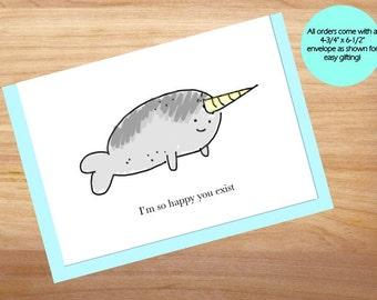 Narwhal - Love Card, Anniversary Card, Cute Card, For Boyfriend, For Girlfriend, Friend Card, Blank Card