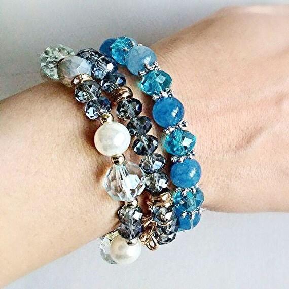 Jewelry Bracelets Gemstone Natural Beaded Three bracelet combination Three bracelets sea-blue Bracelet of three blue