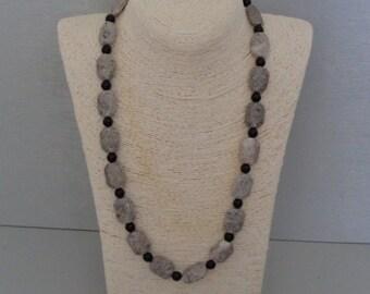 Orbicular Jasper, onyx beads necklace