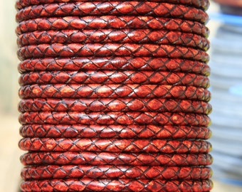 "MADE IN SPAIN 24""  5mm braided leather cord, 5mm tobacco color braided leather cord, (TR5TAB)"