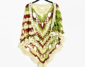 Crochet Autumn Shawl, Lace Wrap, Virus Granny Shawl, Gift for Her, Handmade Capelet, Machine Washable Shawl, Triangle Lace Scarf