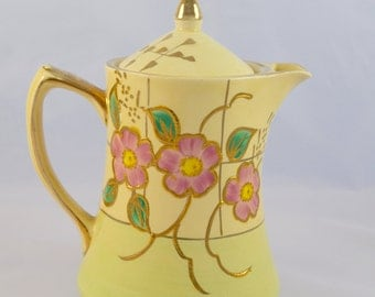 Price Bros. pottery coffee or tea pot, floral and gilt, 1950s, Made in England