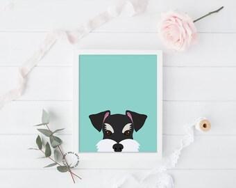 Schnauzer Print, Dog Print, Puppy Print, Dog Poster, Home Decor, Wall Art,Nursery, Nursery Decor, Kids Wall Art, Printable, Decor Animals