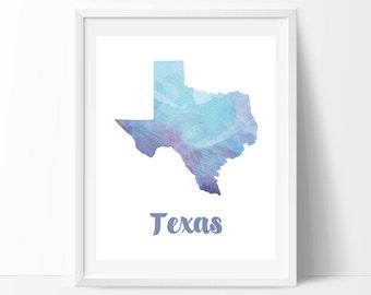 Texas print, Texas decor, Texas wall art, Texas printable art, Texas map print, Texas poster, Texas watercolour print, Watercolor print