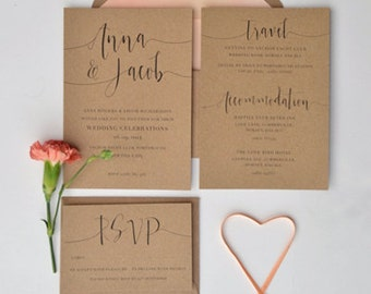 Rustic Personalised Wedding Stationery SAMPLE
