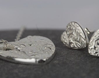 Textured heart set ~ valentine gift ~ anniversary present ~ necklace and earring set ~ pendant and matching stud