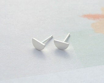Half Circle Studs, Geometrically Minimal, Solid Reclaimed Sustainable Sterling Silver, Simple Versatile Earrings, Eco Friendly Materials