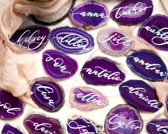 "2""-3"" Purple Agate Slices Name Cards"