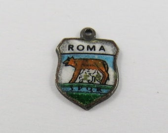 Enameled Travel Shield Of Roma Italy .800 Silver Charm or Pendant. REU