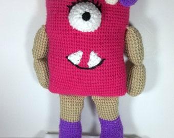 Hand Crochet Hot Pink Razzle the Monster Amigurumi Doll
