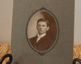 Antique Man Photograph, Vintage Handsome Young Man Photograph, 1900's Black & White Photograph, Edwardian Young Man, Handsome Victorian Man